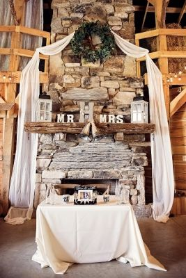 This decorated fireplace and mantle create such a warm environment for a wedding ceremony! It's absolutely perfect thanks to Ever After Weddings! Click the image for more details. Photo credit: ThePinkBride.com