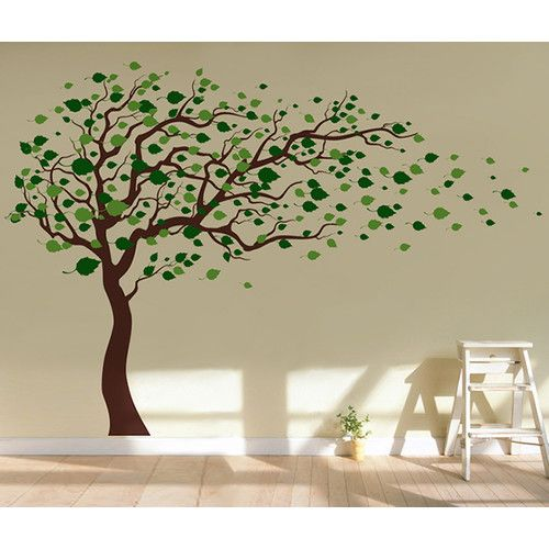 Tree Blowing in The Wind Wall Decal – Family tree wall
