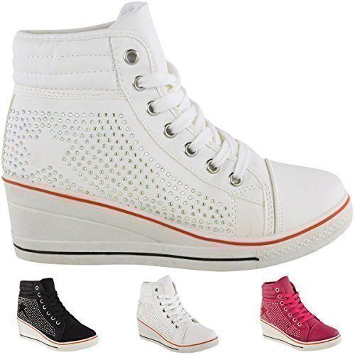WOMENS LADIES DIAMANTE WEDGE TRAINERS HIGH TOPS CONCEALED HEEL ANKLE BOOTS SHOES: Amazon.co.uk: Shoes & Bags