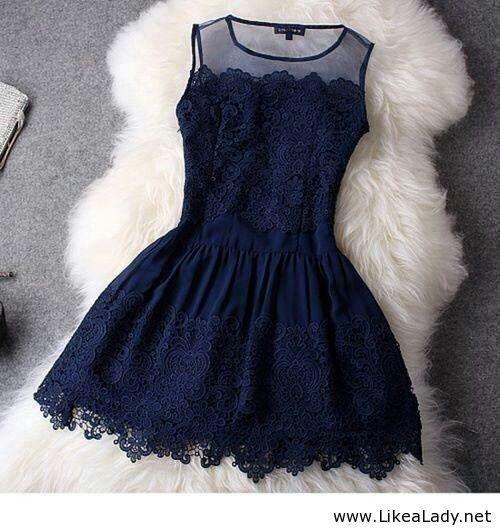 Navy lace dress - Cute - LikeaLady.net                                                                                                                                                     More