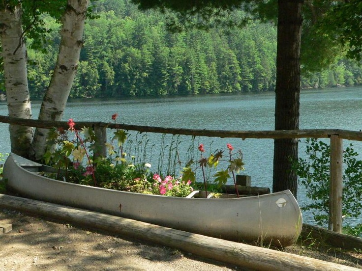 Another canoe planter, with flowers = pretty