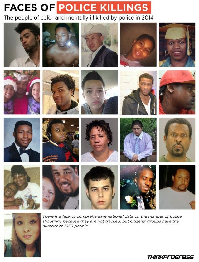 """A dearth of national data on fatalities caused by police makes it difficult to pinpoint the exact number of deaths in 2014.  One site put the total at 1,039.  """"The Centers for Disease Control and Prevention also compiled data which shows that people of color are most likely to be killed by cops overall. In short, people who belong to marginalized communities are at a higher risk of being shot than those who are not."""""""