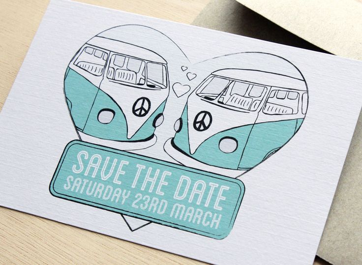 Kombi Love Save The Date Card - Hand Illustrated Retro Wedding Stationery Suite in Teal/Turquoise by BellaStationery on Etsy https://www.etsy.com/listing/88545117/kombi-love-save-the-date-card-hand