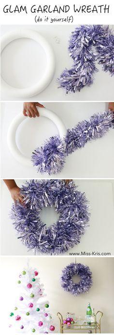 DIY Glam Glittery Christmas Wreath by Miss Kris. Full Post here -> http://miss-kris.com/2015/12/glamgarlandwreath/