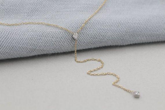 14 k tinta oro lariat collana di diamanti taglio di NOSTALGII