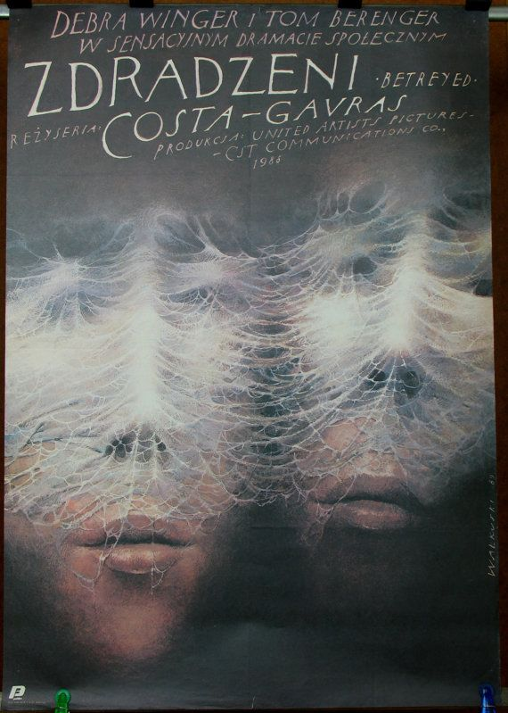 Betrayed. US movie 1988 by Costa-Gavras. Starring: Debra Winger & Tom Berenger Poster by Wieslaw Wal.. https://www.etsy.com/listing/273244340/betrayed-us-movie-1988-by-costa-gavras