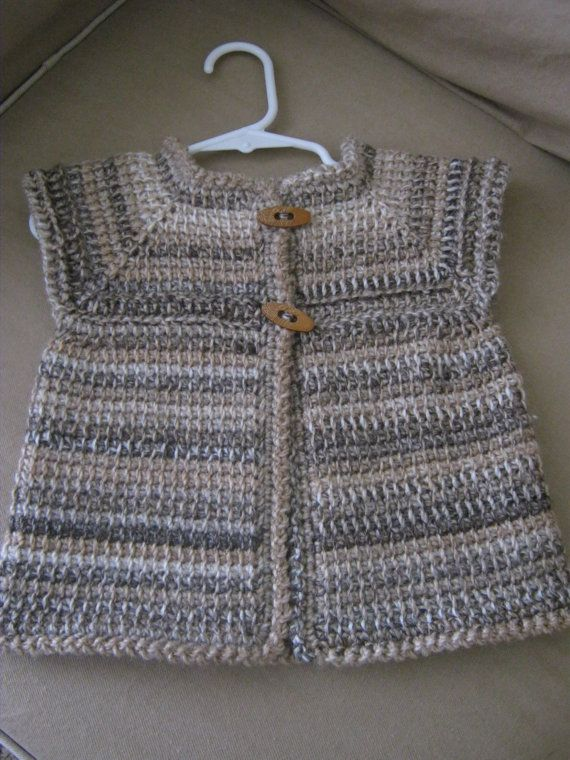 Crochet Girl Sleeveless Baby Sweater Vest by ForBabyCreations,