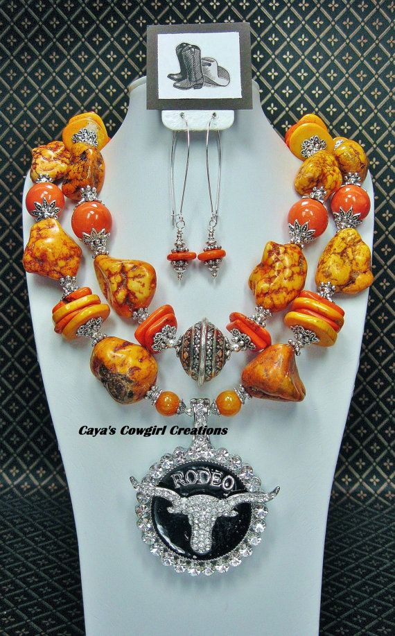 CHUNKY+WESTERN+COWGIRL+Statement+Orange+by+CayaCowgirlCreations,+$59.50