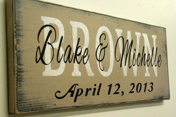 Personalized Name Sign Custom Name Sign Family Name Sign Wedding Anniversary Distressed Wood Shabby Chic Cottage Chic Vintage Handpainted
