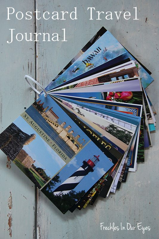 This is a great idea for kids & adults alike!  Postcard Travel Journal.  Buy postcards along the way of your trip and write what you did that day on the back: restaurants, funny stories, cool attractions. Don't forget to write the date!  Hole punch and attach to binder ring.