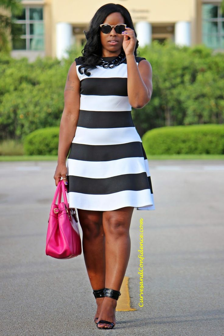 Curves and Confidence | Fit and Flare Dress | Striped Dress | Black and White | Work Wear |