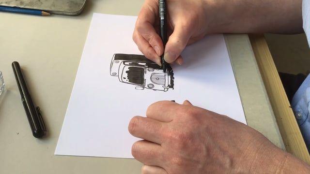 Doodling a van :) Ink on paper 2017