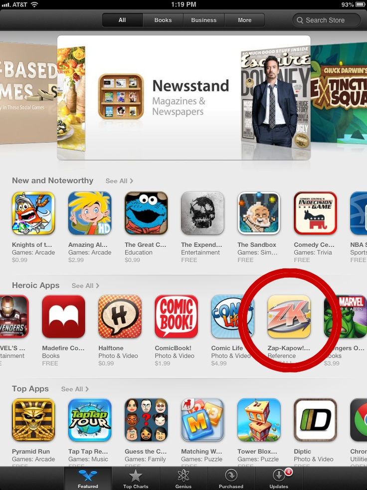 Props to our friends at Zap-Kapow Mobile Comic Price Guide on making the iTunes homepage!