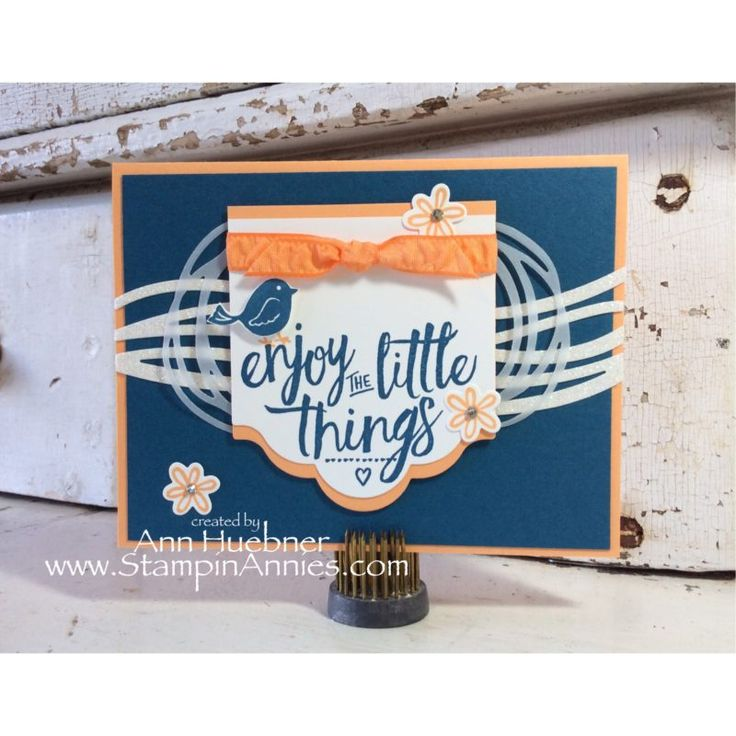 Enjoy the Little Things, Swirly Bird Stampin' Up!, Layering Love Stamps, Dapper Denim & Peekaboo Peach, Click on pic for more details on this card