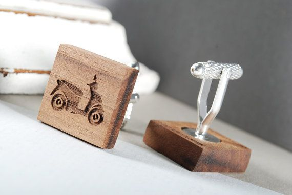 VESPA cuflinks ready to give gift box solid by MoodForWood on Etsy