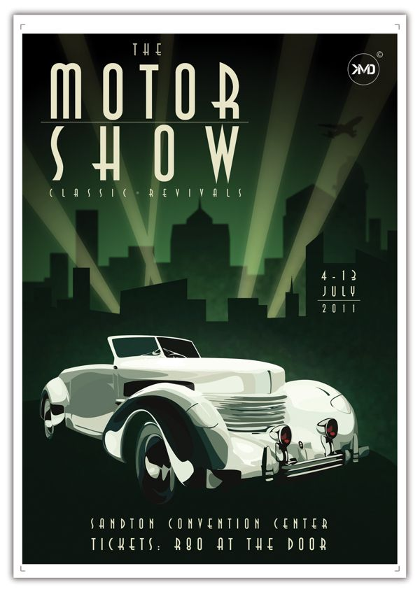 Art Deco inspired Motor Show Poster(Art Deco or deco, is an eclectic artistic and design style that began in Paris in the 1920s and flourished internationally throughout the 1930s and into the World War II era. The style influenced all areas of design, including architecture and interior design, industrial design, fashion and jewelry, as well as the visual arts such as painting, graphic arts and film)