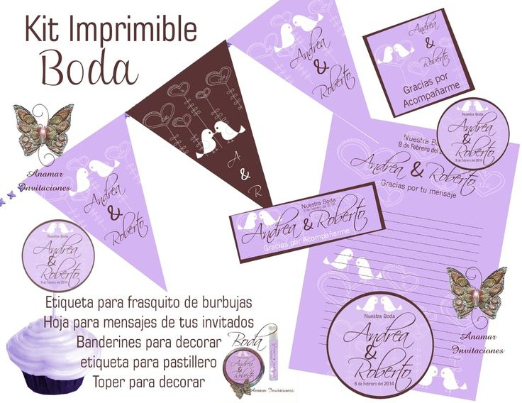Diseño para Boda Disponible como Kit Imprimible ó Impreso
