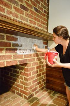 White-washing brick tutorial from @Sherry S @ Young House Love