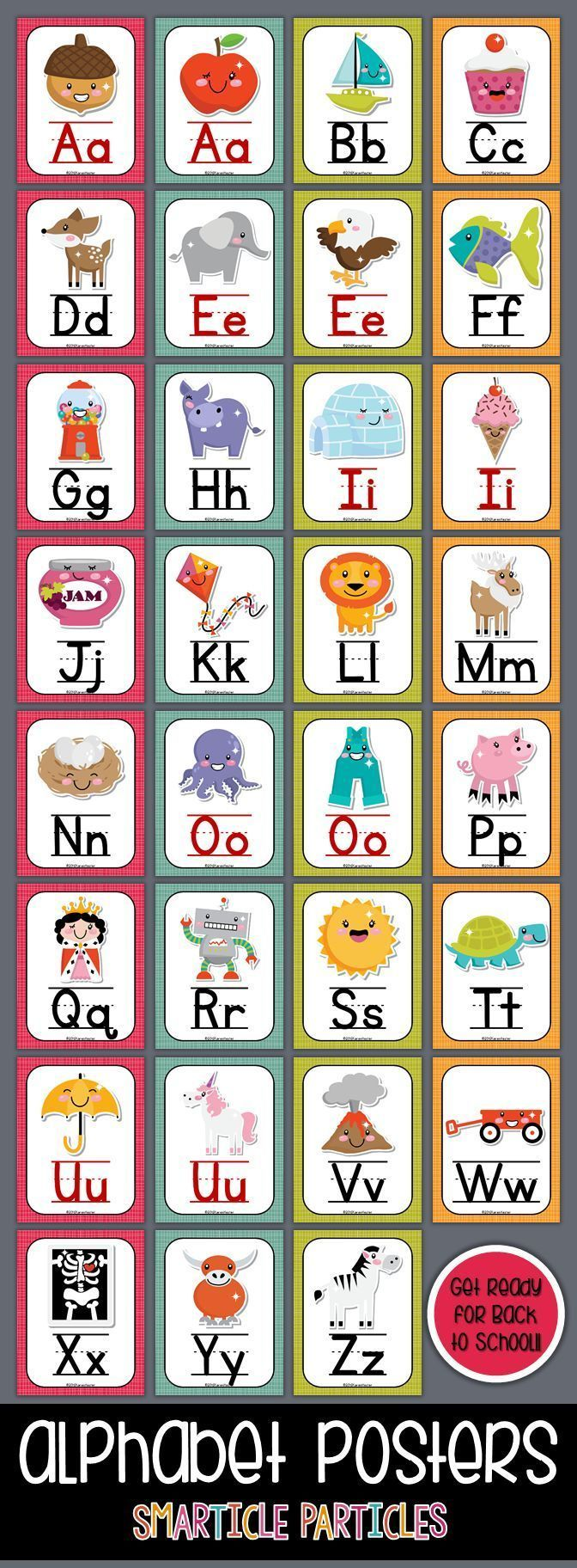 Fun set of alphabet posters with cute Kawaii style graphics. Perfect for any early childhood classroom! $3.00