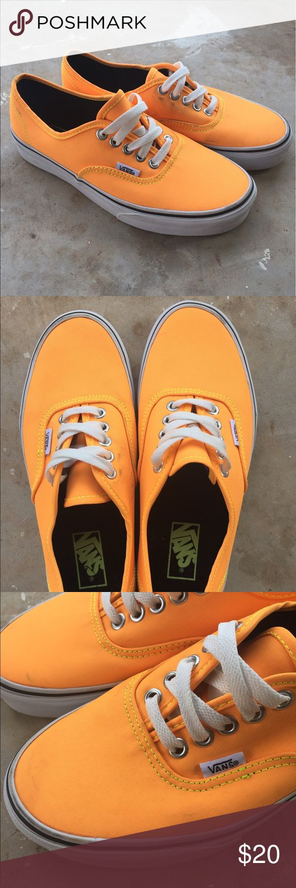Vans Highlighter orange vans. Never worn before but they do have a little smudge. Should be able to clean have not tried. Vans Shoes Sneakers