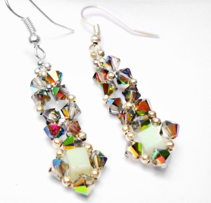 Aventurine and Crystal Earrings via Paravel Jewellery. Click on the image to see more!