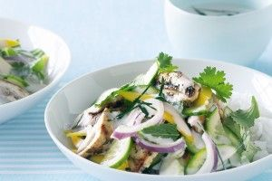 Kaffir lime chicken with herb and mango salad
