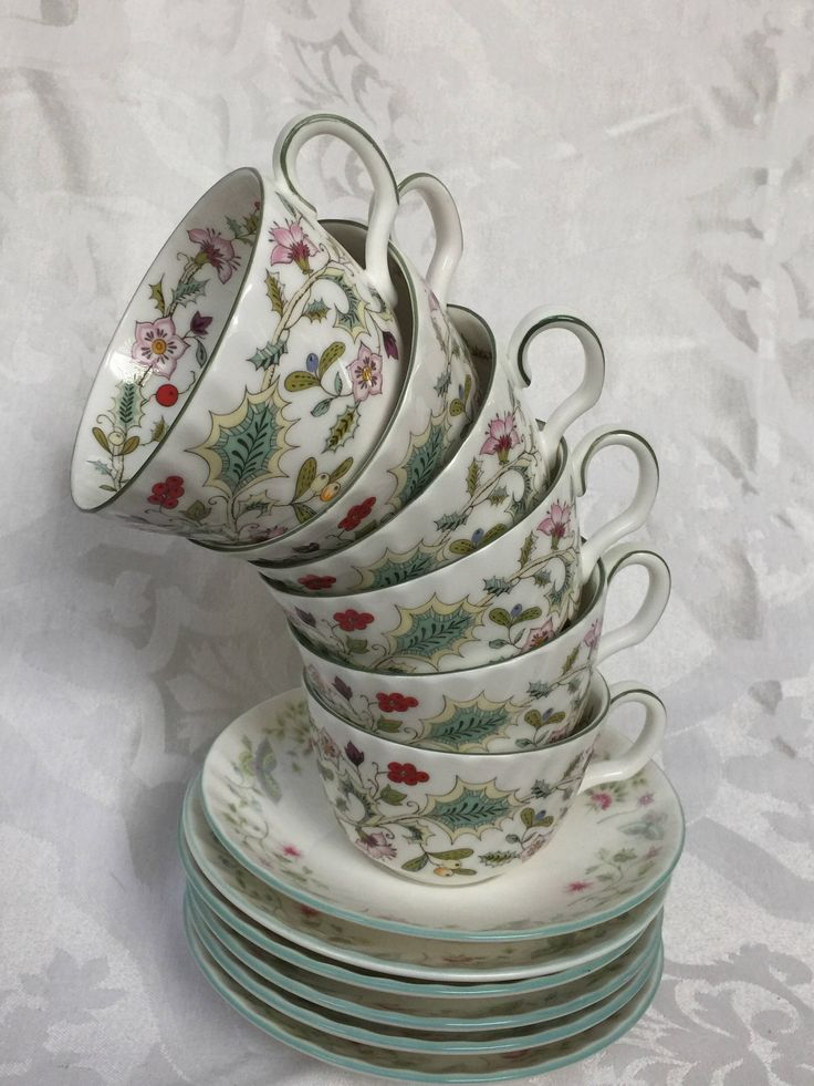 Set of Six Lovely Eclectic Teacup and Saucer from England by MoxieAntiques on Etsy