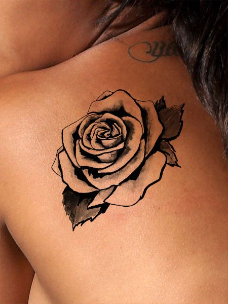 This beautiful art deco style rose tattoo is available as a black tattoo or a color tattoo. Traditionally a rose tattoo symbolizes hope, love, promise and new beginnings. The meaning of our color vers