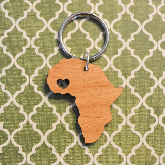Africa Love Wood Key Ring by cascacoumo on Etsy, $6.00 (of course the heart would go over Kenya)