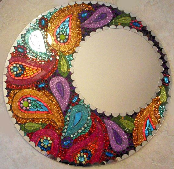 Original Paisley Moon Colorful Handmade Glass Mosaic Mirror