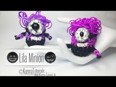 Rainbow Loom Lila Minion Anhänger/Keychains Step by Step Tutorial - YouTube