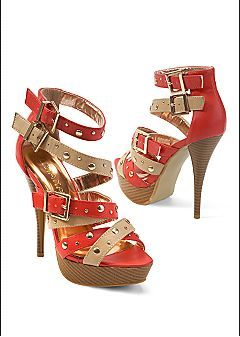Buckle studded strappy heel (red multi) from VENUS clothing line #Z1271