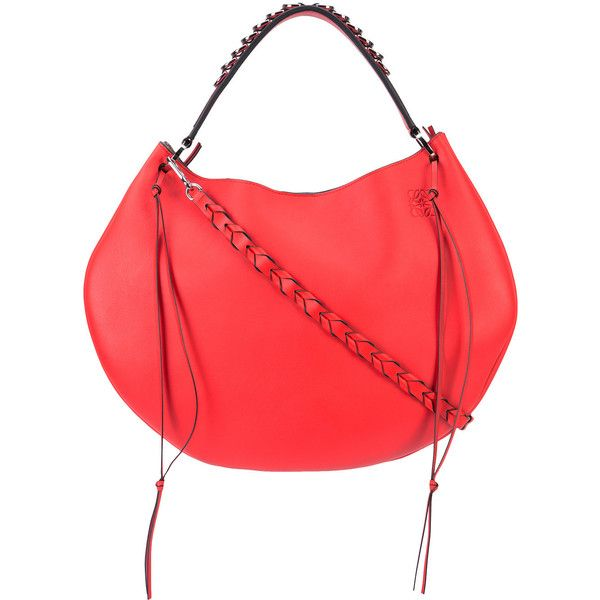 Loewe 'Fortune' hobo bag (223.895 RUB) ❤ liked on Polyvore featuring bags, handbags, shoulder bags, red, evening purses, red shoulder bag, leather hobo shoulder bags, leather shoulder bag and leather hobo purses