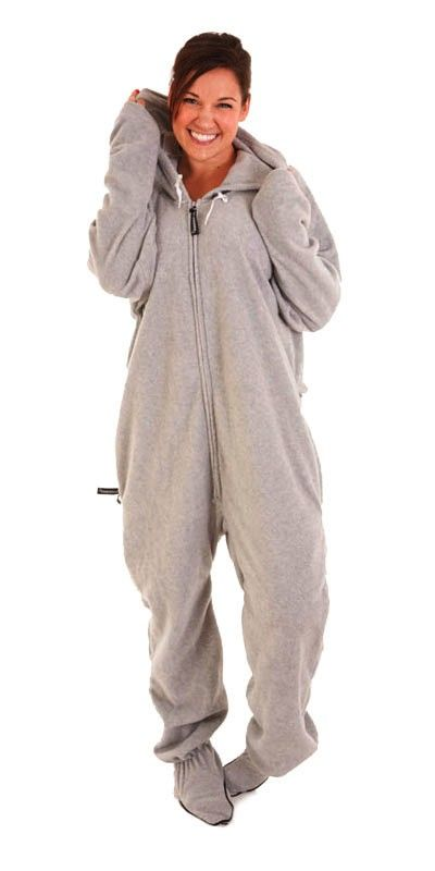 Almost looks like a cute little baby elephant costume - buy way softer.  Gray Footed Onesies for Men and Women, Footie PJs for Adults