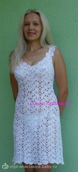 Вязаное платье крючком с ленточным кружевом