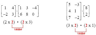 Once the matrix multiplication is defined, you can find the dimensions of the result (the answer).