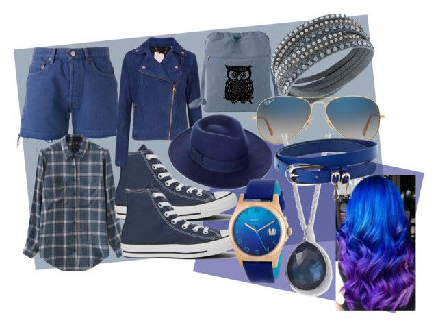 blue and blue by slytheriner on Polyvore featuring Chicnova Fashion, Ted Baker, Levi's, Converse, Swarovski, Marc by Marc Jacobs, Ippolita, Whistles, Ray-Ban and My Little Pony