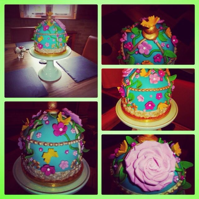 Almond and sour cherry vintage birdcage cake