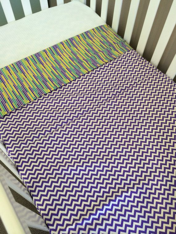 Ready to send Cot doona cover purple/yellow by BabyRainbowz