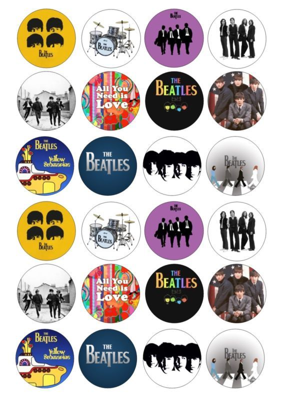 24 The Beatles Wafer / Rice Paper Topper For Cupcake Fairy Cake Toppers