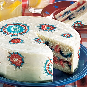 Fantastic Fireworks Cake. Grandma liked to celebrate July Fourth with a bang! Her easy decorating technique made sparkling bursts of color—and plenty of OOHs and AAHs from her guests.: Cake Recipe, Fantastic Fireworks, Jar Firework, Color And Plenty, Cakes, Fireworks Cake, Red White Blue, 4Th Of July