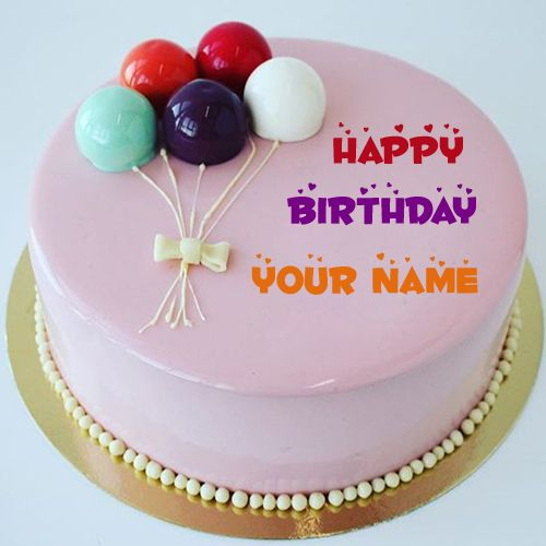 Happy Birthday Wishes Glossy Icing Cake With Your NameGenerate Name On CakeMulticolor Balloon Topper Beautiful