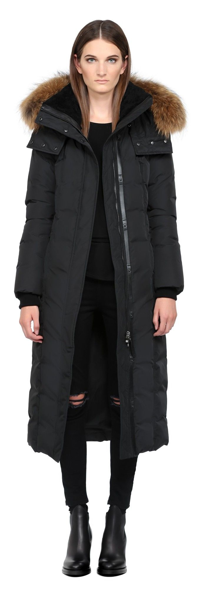 JADA | BLACK LONG DOWN COAT WITH FUR HOOD FOR WOMEN | MACKAGE