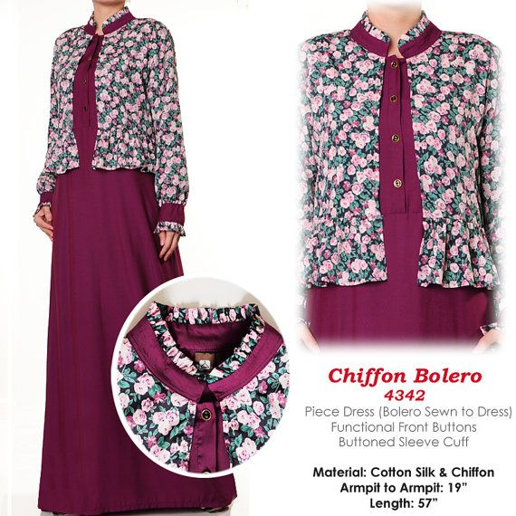 Chiffon Robe Long Sleeves Abaya Modest Muslim Maxi by MissMode21