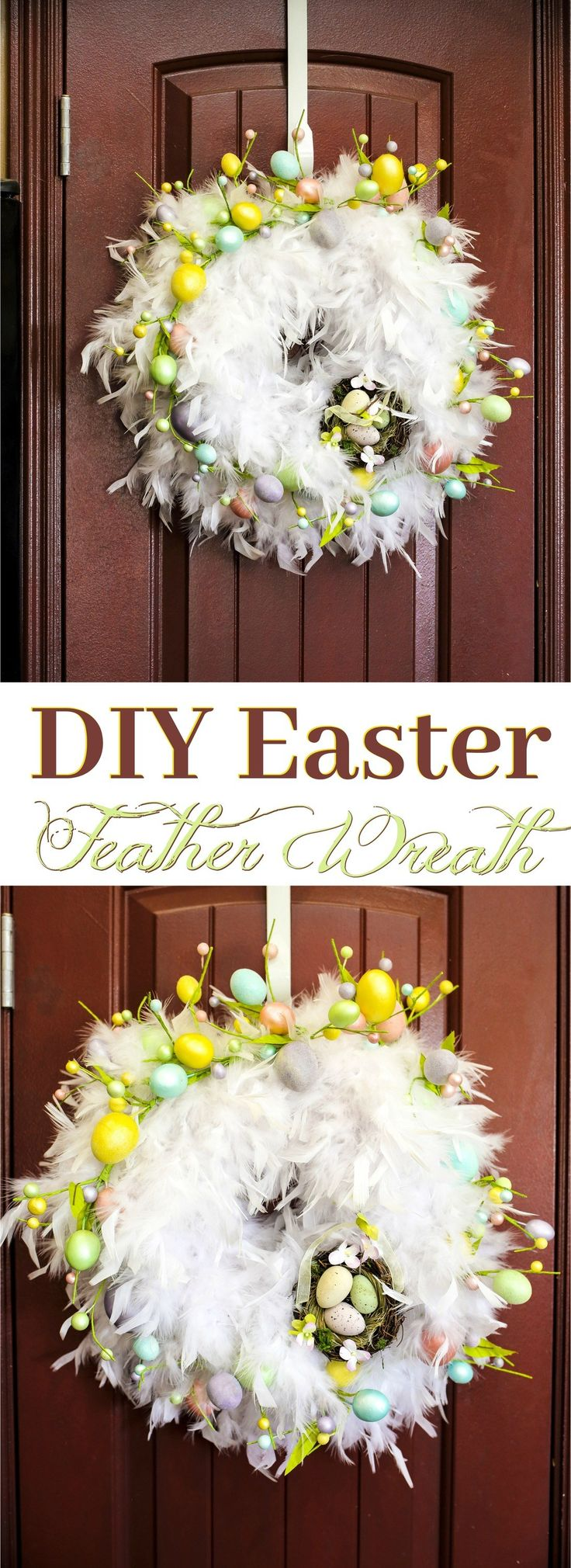 Make a statement with a stunning, chic DIY feather Easter Wreath in only 30 minutes! This easy DIY Feather Wreath only costs about $25 and is the perfect home accent! via @2creatememories