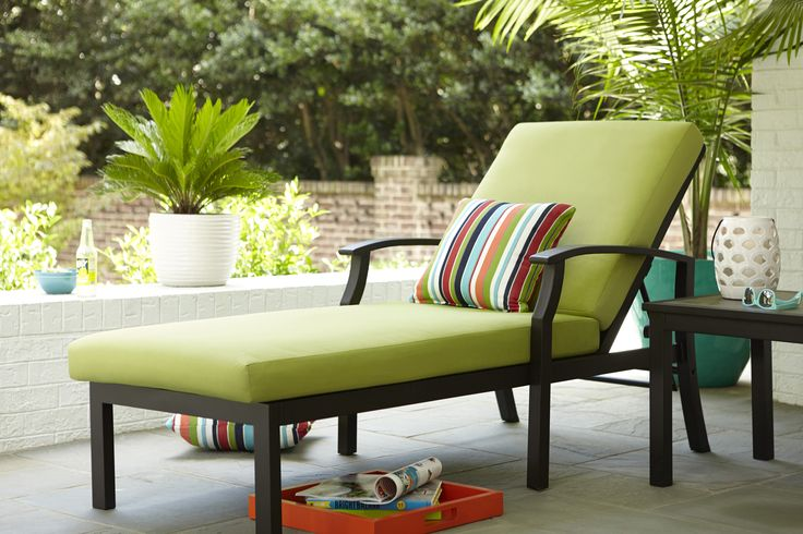Envision yourself relaxing this spring in this allen for Allen roth steel patio chaise lounge