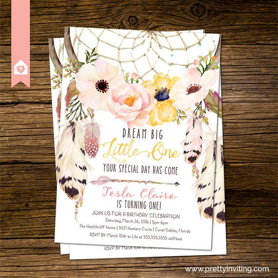 Boho Chic First Birthday Invitation Rustic by PrettyInvitingPrints