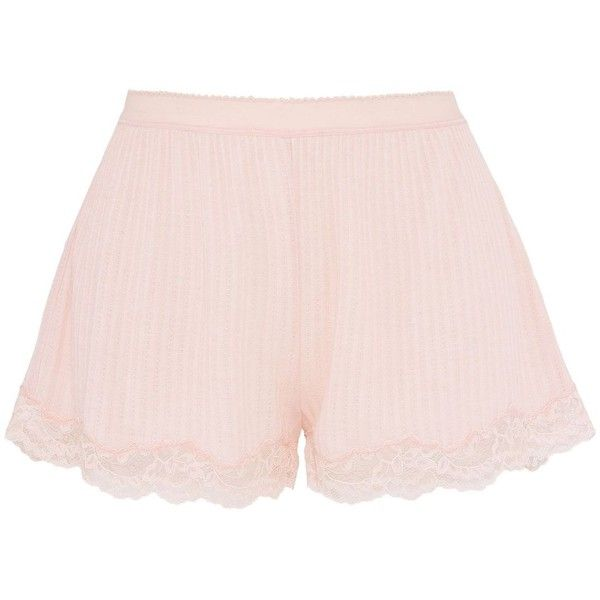 Stella Mccartney Lily Blushing Shorts ($105) ❤ liked on Polyvore featuring shorts, ballet pink, elastic waist shorts, lacy shorts, stella mccartney, pink shorts and pink lace shorts