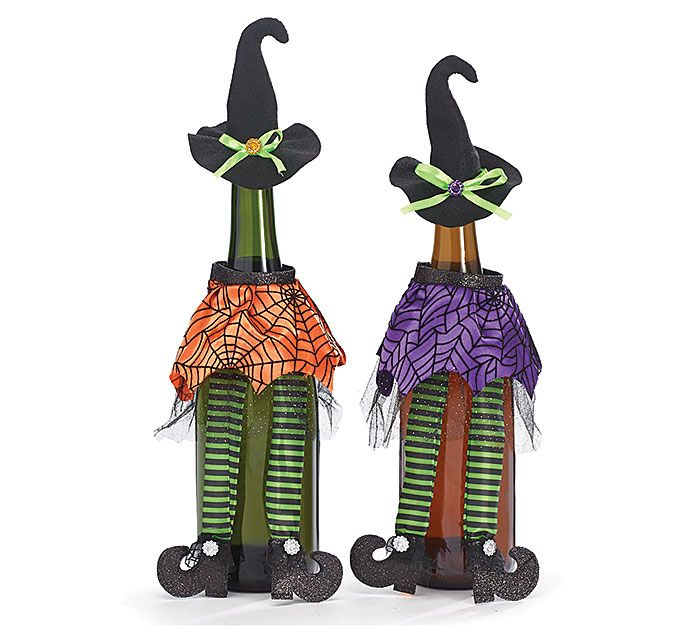 Bring your Halloween Spirits in our fun Witch Wine Bottle Covers! #burtonandburton