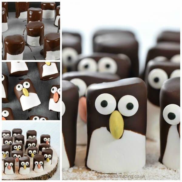 Hoe maak je makkelijk marshmallow pinguïns - leuke kerst feest of partij voedsel idee voor kinderen van Eats Geweldig UK